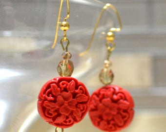 Carved Cinnabar Resin Hypoallergenic Dangle Earrings, Carved Flower Earrings, Gold Plated Chinese Earrings, Japanese Jewelry
