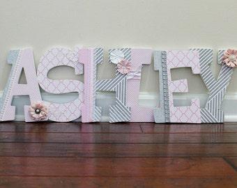 Custom Nursery Letters Baby Girl Nursery Decor Wooden