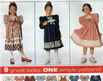 Simplicity 7411 Sewing Pattern, Girl's Dress, Gathered to Yoke, Front Inset, Sleeve Length Variations, Multi-Size 2, 3, 4, Uncut Vintage