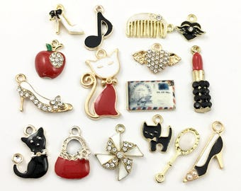 16 charms deluxe collection gold tone and enamel,12mm to 28mm  #ENSA 380