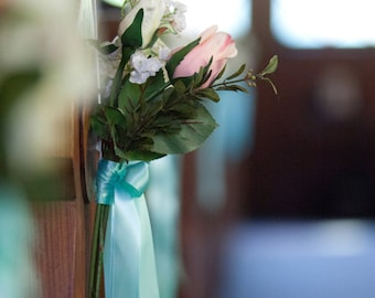 Silk Wedding Flowers Decor Pew Flowers and Bow