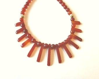 Carnelian Necklace, Carnelian Collar, Fan or Bib Necklace and Carnelian Bead Necklace