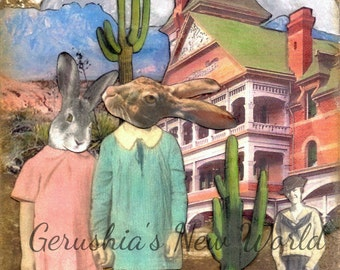 NEW To Print - The Uninvited  (Tiny Tale Art) -  Anthropomorphic, Collage, Mixed Media, rabbits, Story Art,  Print