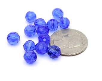 Vintage Cobalt Round Faceted Balls Beads Crystal beads 8mm 12pcs