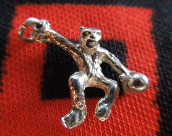 Sterling Monkey Charm Figural Jumping Monkey Charm Sterling Silver Gorilla Charm for Bracelet from Charmhuntress 04026