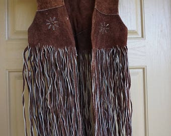 Vintage 1970s fringe suede leather vest small medium 70s