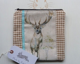 Stag XL Makeup Bag Deer Cosmetic Pencil Case Fabric Padded Large