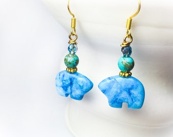 Blue Crazy Lace Bear Earrings, Blue Stone Jewelry, Baby Blue, Alaskan Made, Organic
