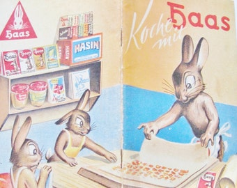 1950s German HAAS COOKBOOK,  Vintage, Viennese, Classic Austrian Dessert Recipes, Dough, Guglhupf, Baking Tips, Baking Powder, Knodel,