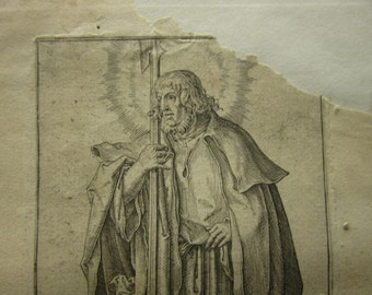 Original 1511 Etching by Lucas Van Leyden entitled St Matthias Holding A Cleaver