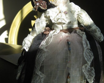FABULOUS Scottish Doll made from Fabrics, and a Man's Bruno Piattelli Silk Tie!  She is One of a Kind, Scottish Lass.