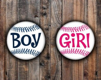 Baseball gender reveal pins.  pink and navy blue.