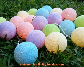 cottonball light20 pastel colors cotton ball String Lights Lanterns night light party  light