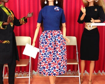 Barbie Doll Skirt Set - Red, White, and Blue Flowered Print Skirt with Navy Top, Earrings, Purse and Shoes