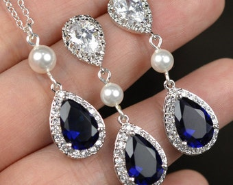 Blue Navy blue,sapphire blue Wedding Jewelry Bridesmaid Gift Bridesmaid Jewelry Bridal Jewelry tear Earrings & necklace SET,bridesmaid gi