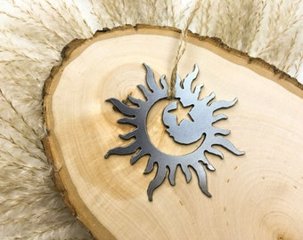 Solar Eclipse Christmas Ornament Rustic Metal Steel Holiday Gift for Her for Him Thanksgiving Fall Decor Wedding Favor