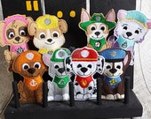Puppy, Paw, Hero, SET OF EIGHT Working Dog, Patrol, Inspired Finger Puppets, Felt Travel Toy, Puppet, Pretend Play, Imagination