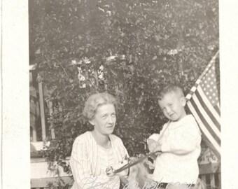 Patriotic rocking horse boy ~ Antique Snapshot Photo ~ American Flag