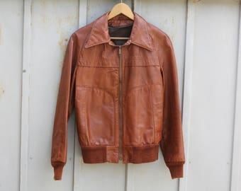 Vegan Leather Jacket - 70s Bomber Jacket - 1970s Pleather Jacket - Brown Leather Jacket - Vintage Flight Jacket - Aviator Jacket for Men