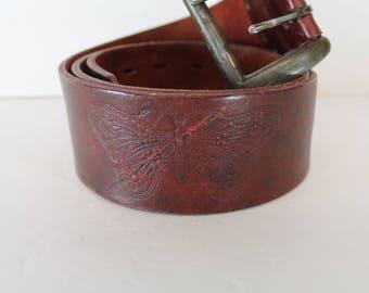 Vintage 1970's Oxblood Distressed Leather Embossed Gypsy Moth Wide Belt 34