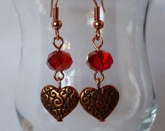 Copper Scroll Work Heart Earrings