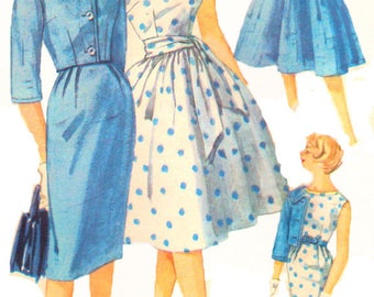 Simplicity 3340 Womens 1960s Full Dress Or Wiggle Dress With Short Jacket Sewing Pattern