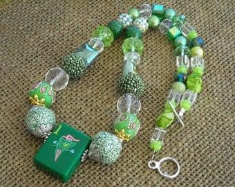Green Mahjong Necklace  - Mahjong Gift - Jesse James  - Parrot Jewelry