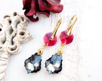 Long ruby silver Swarovski crystal earrings 24k gold plated jewellery Silver Night Swarovski baroque Ruby gold bridesmaids drop earrings 1