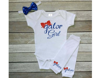 Gator Girl Onesie UF Gators UF Football Gators Fan Onesie Glitter Letters Gator Mom Gator Baby