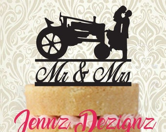 Mr and Mrs Silhouette Couple with Tractor #CTG002 Made in USA