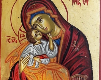 orthodox ICON.byzantine icon. religious icon.VIRGIN MARY Byzantine icon greek icon.hand painted inOldWood.Luxury gift wedding-Baptism