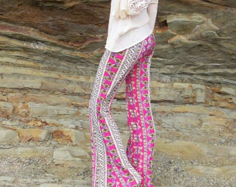 AZTEC TRIBAL paisley  flare leg gypsy hippie retro festival yoga fashion bell bottoms with fold waist optional
