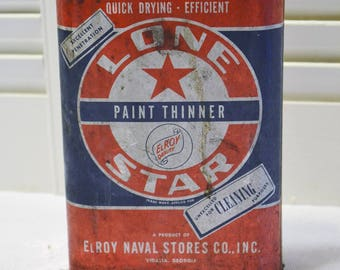 Vintage Lone Star Paint Thinner Can Red White Blue Elroy Naval Stores Georgia Rustic Man Cave Decor PanchosPorch