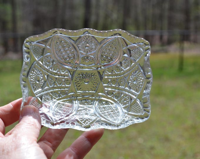 Vintage Pressed Glass Bowl Clear Glass Trinket Dish EAPG Paneled Daisy Ruffled Rim Indiana Glass PanchosPorch