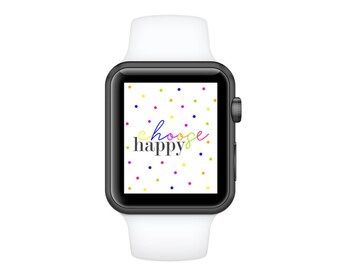 Choose Happy Apple Watch Face Cover|42mm Background|38mm Wallpaper|Bling Apple Watch Accessories For Her|Digital Watch Face|32mm apple watch