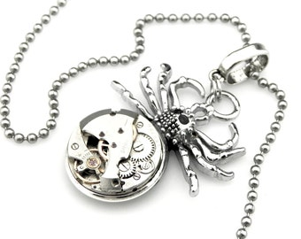 Silver Tarantula Necklace - Halloween Spider Pendant -  clockwork spider pendant - Steampunk gift idea