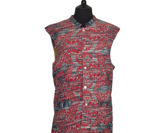 KANTHA Waistcoat - X Large size - Dark grey and red. Reverse beige and pink