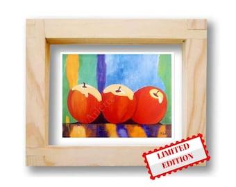 Print Art Poster apples Fruits kitchen decor Red apples Wall decor print Modernist wall art Poster fruit