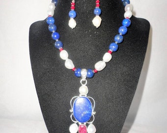 A Gorgeous Renaissance Inspired Ruby Lapis Baroque Pearls Necklace Set****.