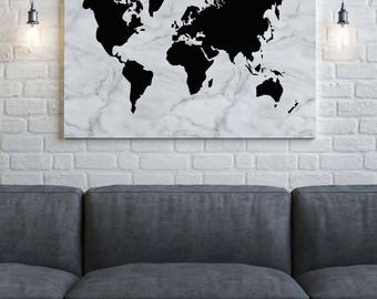 Marble World Map Canvas, Marble Print, Black and White, Canvas Wall Art, Wedding Guest Book, Travel Canvas, Travel, Home Decor, Wanderlust