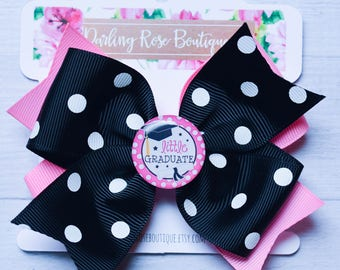 "Large 4"" kindergarten graduation hair bow pink and black - hairbow - school theme hair bow hairbow graduation kindergarten first grade"