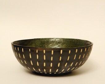 Black stoneware bowl, Big bowl, Pasta bowl, Salad bowl, Fruit Bowl, Decorative bowl, Tableware, Serving bowl, Kitchenware, black and white