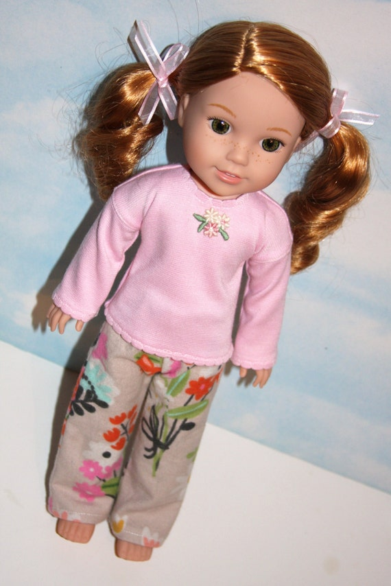 14 5 Inch Doll Like Wellie Wishers Floral Print Flannel Long