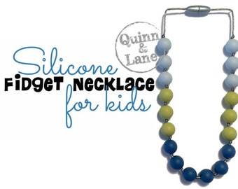 Kids Fidget Necklace - Boys & Girls Children's Jewelry - Silicone Bite Beads Necklace  -  Chew Beads for Child Sensory Autism ADHD - 5932