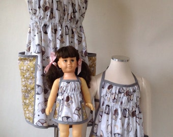 Mother Daughter Aprons, Doll Apron, Apron Set, Mommy and Me, Owl Apron, Matching Aprons, American Girl Doll