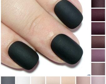 Matte Acrylic Nails - Short Glue On Nails - Gel False Nails - Oval Press On Nails - Petite Fake Nails - Black, Grey, White, Nude, Burgundy