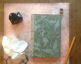 "Notebook sketch book ""Animals of the forest"" holds in Coptic book binding"