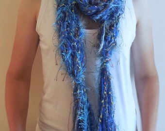 Blue String Knitted Ribbon Scarf, Knitted Scarf, Wearable Art