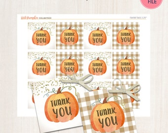 Pumpkin Favor Tags - Fall Favor Tags Plaid Tags THANK YOU tags Little Pumpkin Thanksgiving Party Digital Printable File -  Instant download