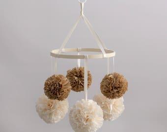 Neutral Nursery, Crib Arm Mobile, Nursery Mobile, Baby Mobile, Crib Mobile, Hanging Pom Poms, Pom Pom Mobile, Baby Crib Mobile